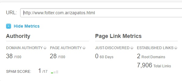 Moz autoridad y métricas de links