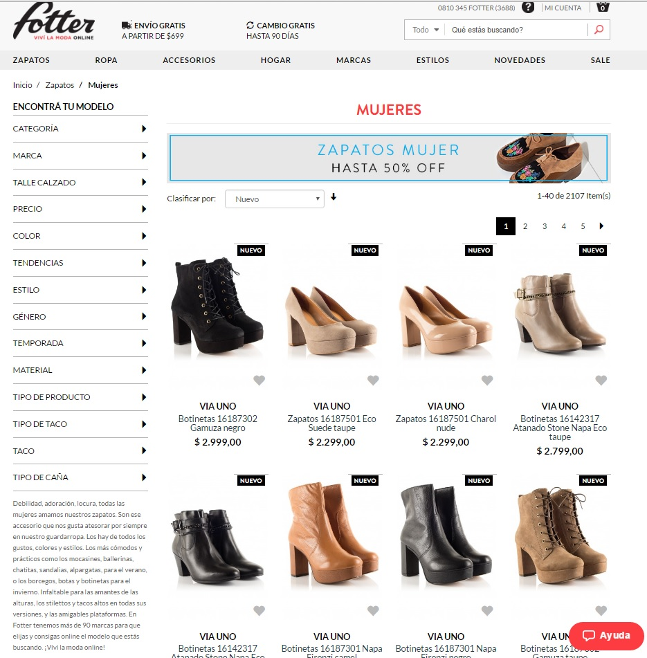 fotter ecommerce relevancia SEO